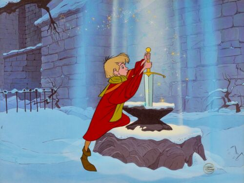 Disney Cel The Sword In The Stone Excalibur Rare Animation Cell + Promo Page