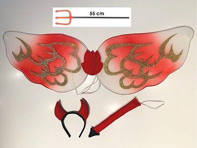 Damen Teufel Set mit Flügel Dreizack Hörner Schwanz Kostüm Halloween - Kostüm Mit Hörner