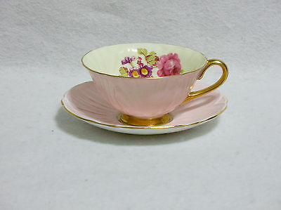 Shelley Hulmes 13434 Rose & Yellow Flower Footed Oleander Cup & Saucer
