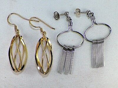 2 Pair Sterling Silver .925 Dangle Earrings One With Hooks One With Butterfly