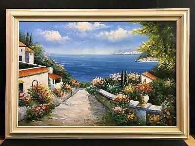 Tuscan Landscape Art (Mediterranean Landscape Ocean Tuscan Village Flowers 24x36 Rossini Art)