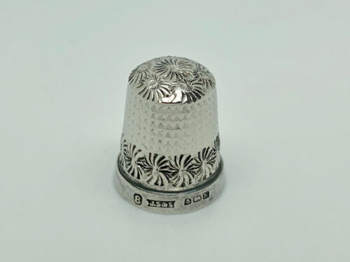 Antique James Swann & Son 1934 English Sterling Silver Thimble Size 8