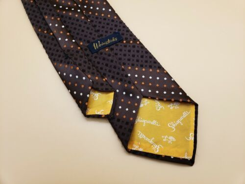 Vintage SCHIAPARELLI Mens Tie Polka Dot Textured Necktie 60s 70s - S44