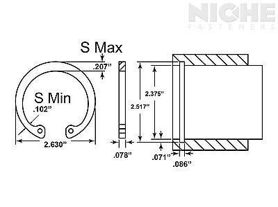 Housing Retaining Ring Internal 2-3/8 Spring Steel PH (25 Pieces)