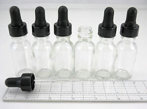 Lot-6-Boston-Round-1-2oz-Clear-Glass-Bottles-with-Eye-Dropper-Pipettes-empty