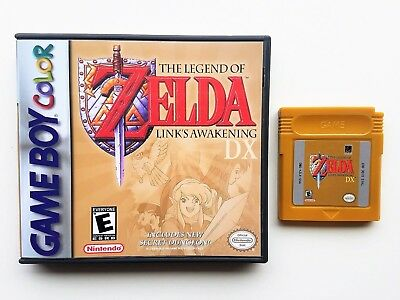 Legend of Zelda Link's Awakening DX  + Case Game Boy Color GBC - Gold Repro Cart - Legend Of Link