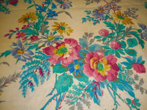 Vintage  Wild Roses Clover Daisy Meadow Floral Cotton Fabric ~ Pink Turquoise