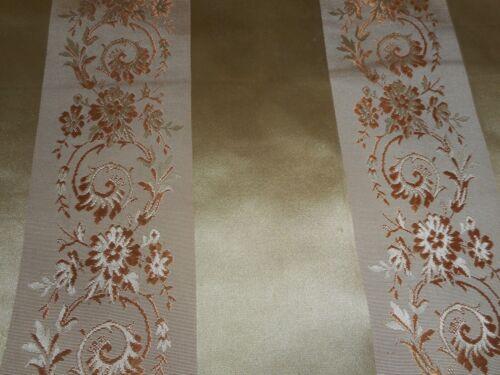 Antique Antique French Regency Floral Stripe Silk Brocade Jacquard Fabric 1~gold