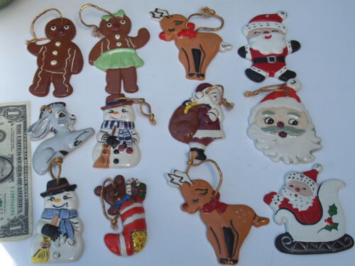 12 Handcrafted Hand Painted Ceramic Christmas Ornaments USA