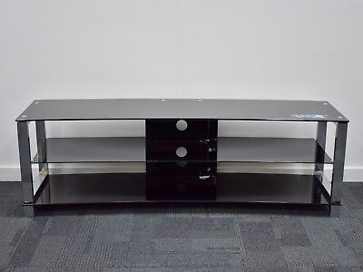 TV Stand Entertainment Unit 1600MM Glass Steel Plasma LCD LED Black Curved