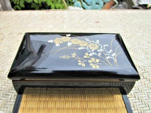 Vintage Asian Jewelry Japan Sankyo Music Box Black Lacquer Finish Nice!