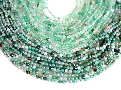 (3mm Faceted Round Agate Semi Precious Stone Beads Bark & Light Green Color #2118)