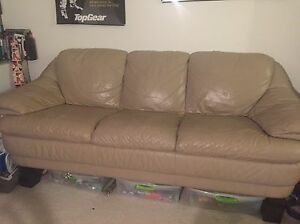 Genuine leather tan couch