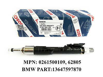 1 x NEW OEM BMW 13647597870 Fuel Injector BOSCH 0261500109, 62805