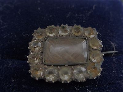 GORGEOUS PASTE GEORGIAN GOLD MOURNING BROOCH / PIN WITH HAIR INSIDE