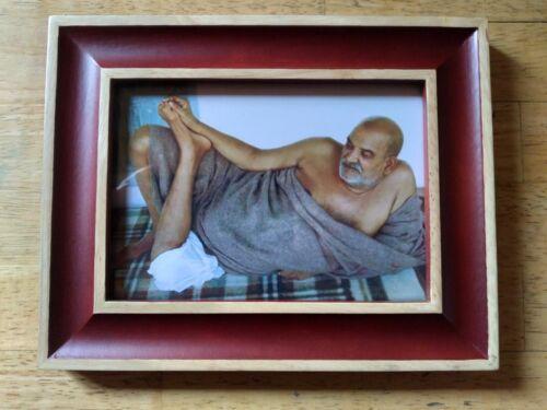 "LOVELY FRAMED PHOTO NEEM KAROLI BABA MAHARAJJI GURU INDIA 9"" x 7"" MUDRA BLESSING"