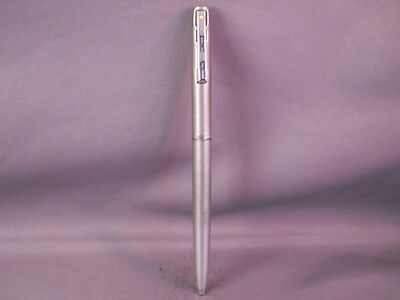 Sheaffer White Dot Brushed Chrome Ball Pen--new refill installed