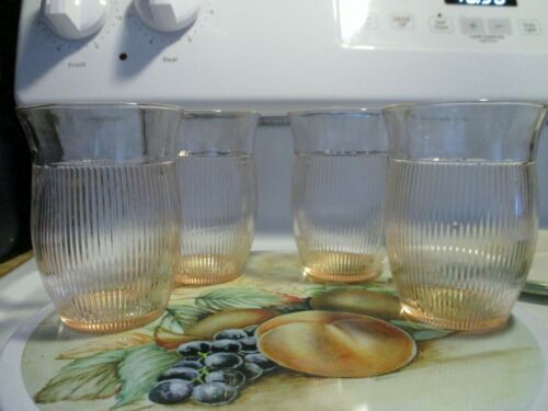 Vintage Homespun 8oz Light Pink Water Flared Top Glass x4 in Excellent Condition