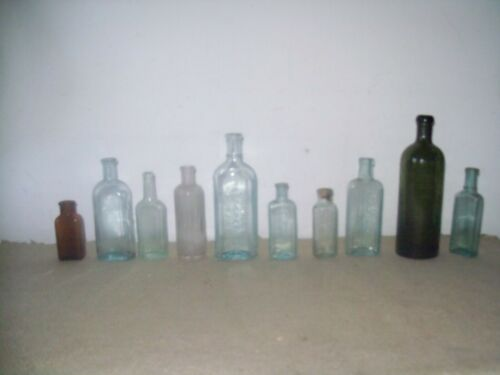Lot of 10 old medicine bottles,,Bitterquelle  Twitchell