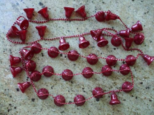 "Vintage Christmas Tree Garland Red Bells Hard Plastic Sparkle 76"" Bead String"