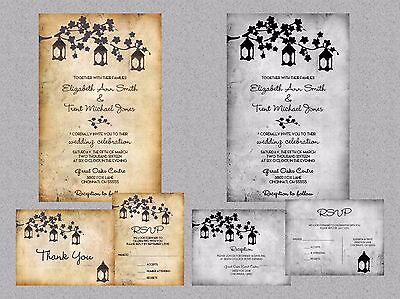 Wedding Invitations Lanterns Tree  Rustic Country 50 Invitations & RSVP Cards (Tree Wedding Invitations)