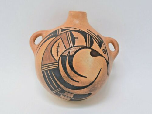 "Hopi Canteen, mid 20th century, 5"" x 6 1/2"" x 6 1/2"" by Hopi; Artist Norma Ami"