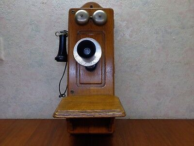 ANTIQUE KELLOGG QUARTER SAWED OAK CRANK WALL TELEPHONE #2560 BEAUTIFUL COND