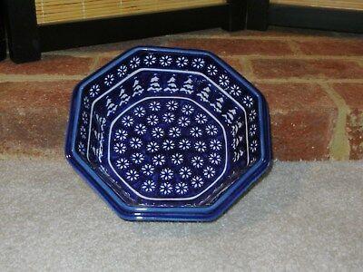 (Polish pottery stoneware Boleslawiec large octagonal bowl snowflake)