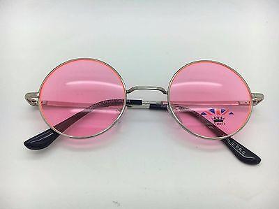 Unisex Silberrahmen mit Farbig Gläser John Lennon Typ Runde Sonnenbrille