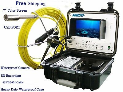 Sewer Drain Pipe 1 Snake Video Camera 65 Ft Cable 7 Color Display Usb Sd Rec.
