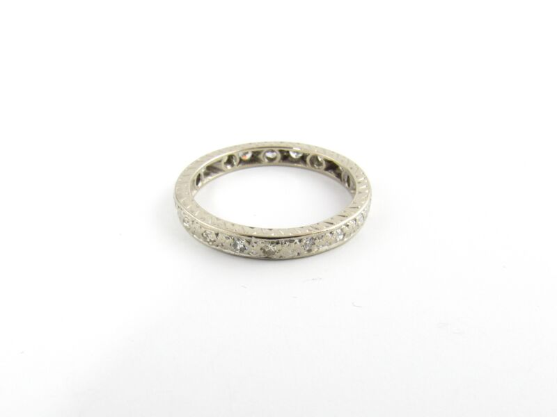 Vintage 14 Karat White Gold and Diamond Wedding Band size 7 #5430
