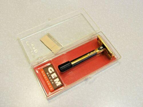 Vintage GEM Gold Safety Razor Set in Case 1950