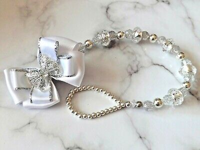 Silver White Glitter Bow Crystal Bling Baby Romany Dummy pacifier clip chain for sale  Liverpool