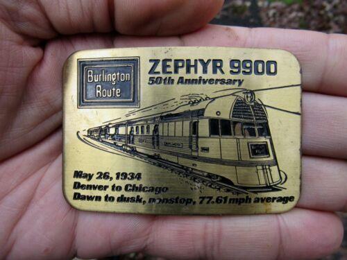 Vtg BURLINGTON ROUTE Belt Buckle 9900 Zephyr Railroad Train 1934 Brass RARE VG+