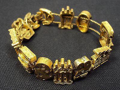 Charm Bracelet, Hollywood Theme ~ Classic TOFA 1995 Slider, Gold Tone - Classic Hollywood Theme