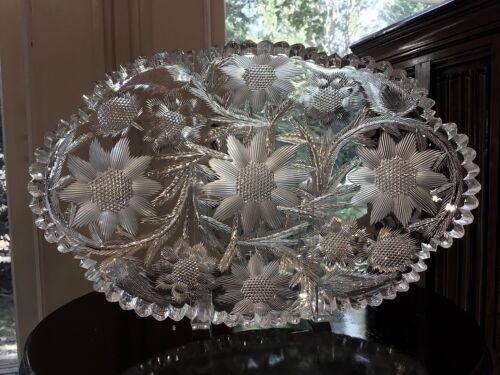 "Libbey Cut Glass American Brilliant W.C Anderson Libbey Pattern 12"" Low Bowl"