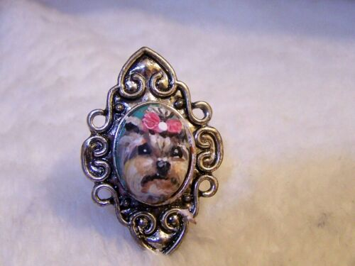 hand painted Yorkie on  adjustable  ring one size fits most