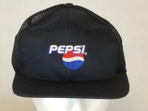Vintage Pepsi Dark Blue Mesh Embroidered Logo Snapback Baseball Trucker Cap Hat