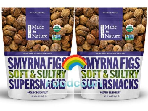 2 Packs Made in Nature Organic Sun Dried Smyrna Figs 40 oz Each Pack