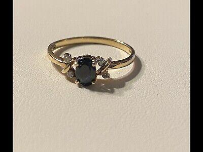 Ladies 10k Yellow Gold Sapphire Ring Sz -
