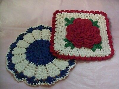 Hand Crocheted Rose and Blue Flower Potholders NEVER USED!!