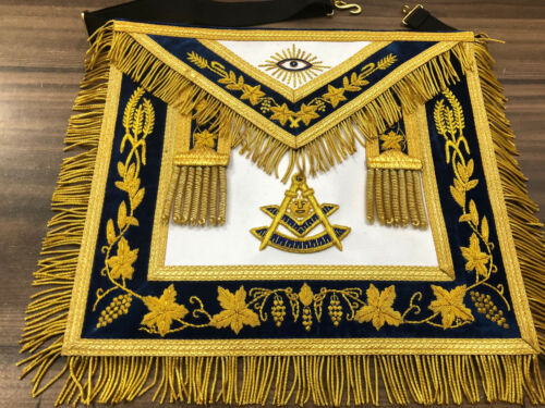 Gold Bullion Hand Embroidery Past Master Aprons, Past Master Aprons, PM Apron