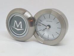 Movado Stainless Steel Travel Desk Quartz Folding Flip Alarm Clock
