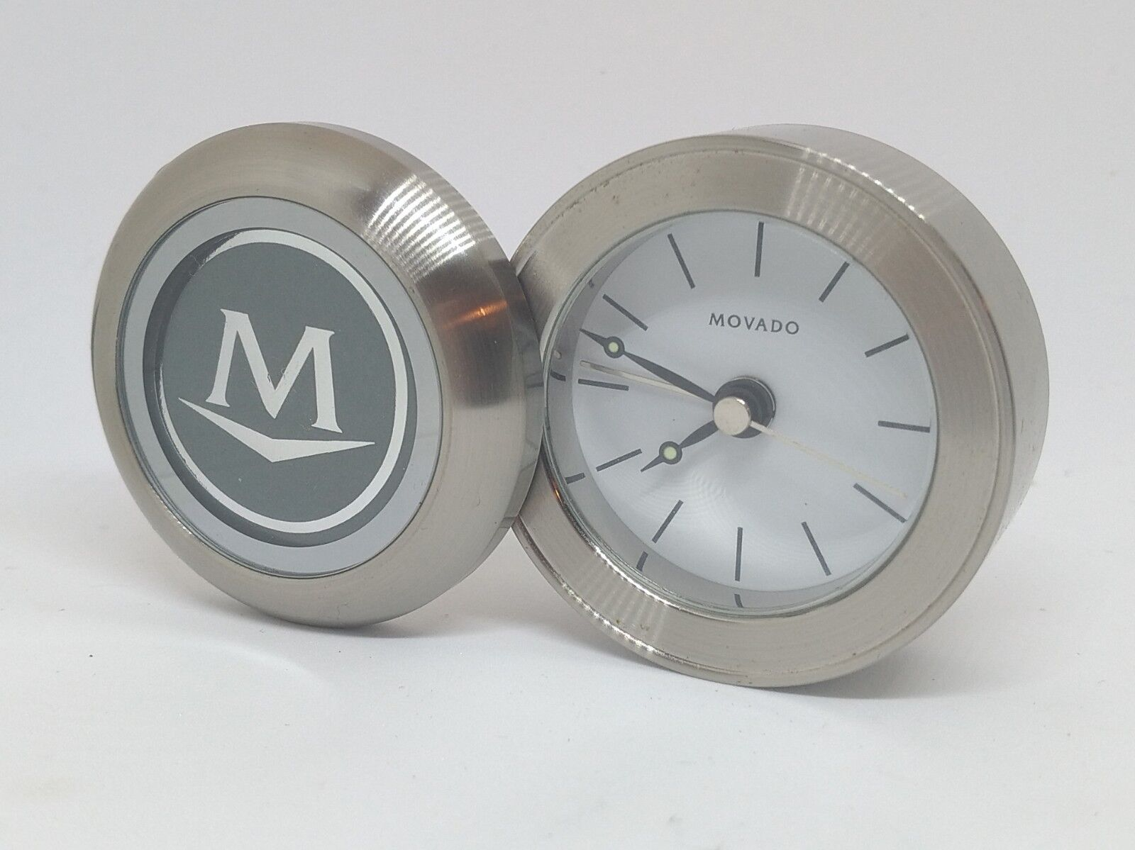 Movado Stainless Steel Travel Desk Quartz Folding Flip Alarm Clock