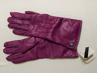 Fuscia Pink Coach Leather Gloves NWT MRSP $128 New