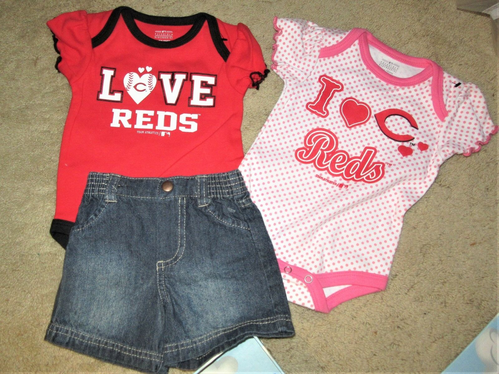 RED sox Baseball clothes baby infant shirts /jeans 3 Mo shor