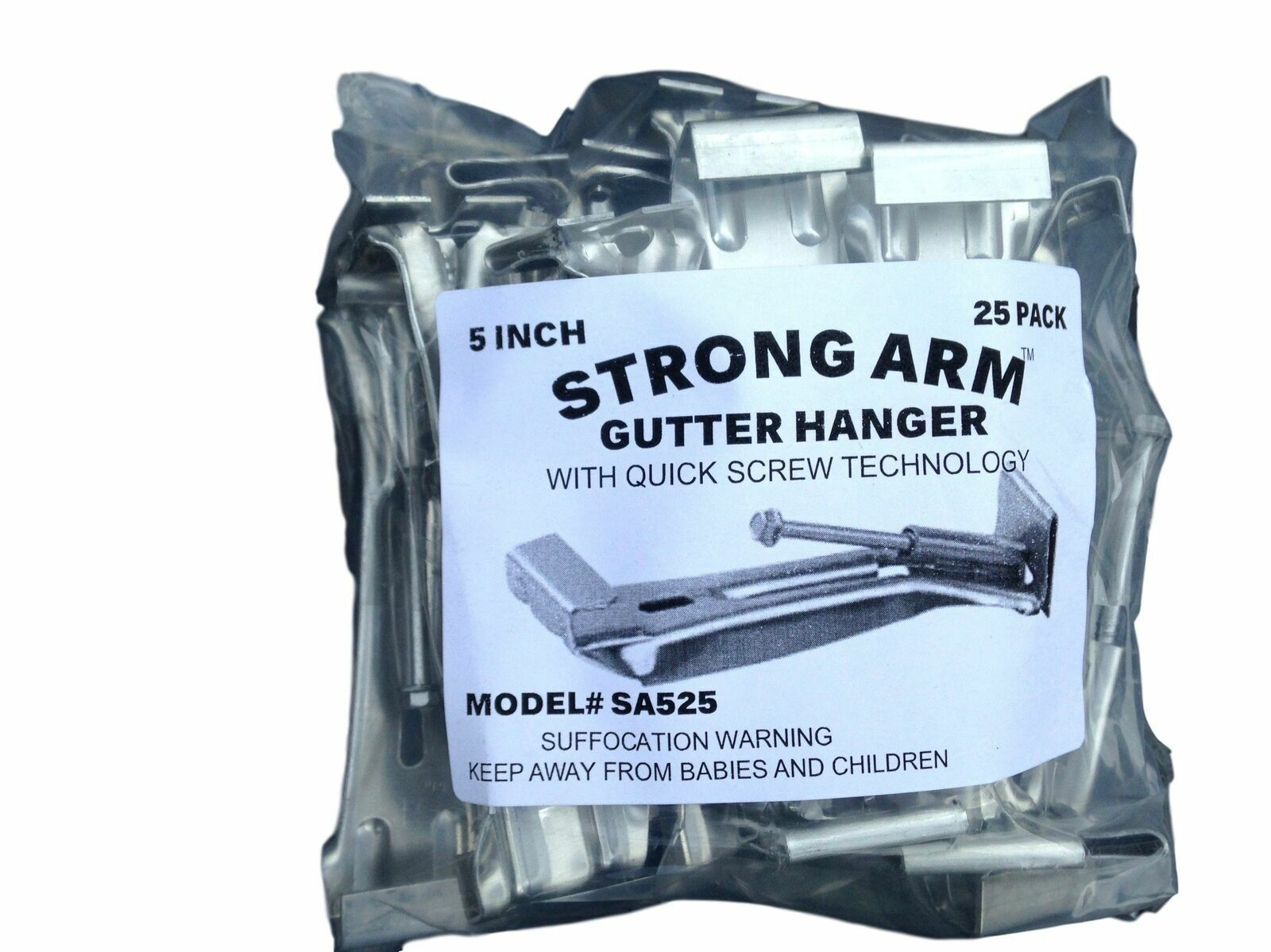 """Quick Screw 5 """" 25 Pack Heavy Duty Hidden Rain Gutter Bracke"""
