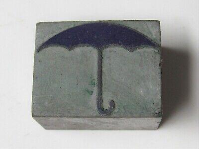 Vintage Metal Printing Letterpress Printers Printing Block - Umbrella