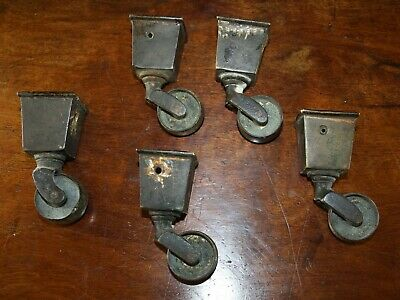 Five brass table feet collar casters Regency 1820 wheels