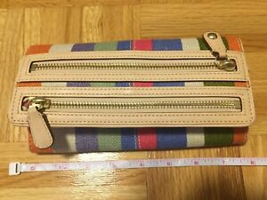 Coach - Rainbow striped double zippered long wallet